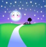 Lune de sourire la nuit Photographie stock libre de droits