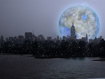 Lune de Terraformed au-dessus de Manhattan illustration de vecteur