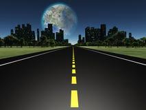 Lune de Terraformed comme vu de la route sur terre Photographie stock