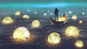 Lune di raccolta dell'uomo sul mare