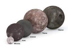 Lune di Urano nel confronto di dimensione con i titoli Immagine Stock