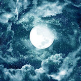 Lune en ciel bleu Image libre de droits