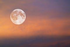 Lune en ciel rouge Photo stock