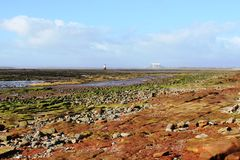 Lune Estuary and Plover Scar Lighthouse Lancashire Royalty Free Stock Photo