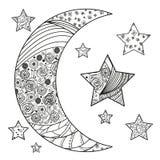 Lune et étoile de Zentangle avec les modèles abstraits Illustration Libre de Droits