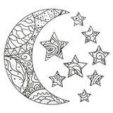 Lune et étoile de Zentangle avec les modèles abstraits Illustration de Vecteur