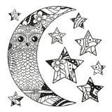Lune et étoile de Zentangle avec les modèles abstraits Illustration Stock