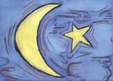 Lune et étoile effectuées avec le watercolour et le pastel Photographie stock libre de droits