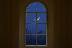 Lune et étoiles de affaiblissement dans la vue de fenêtre photos stock
