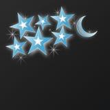 Lune et étoiles Papier-art de vecteur Photos stock