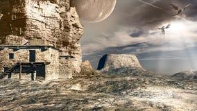 Lune et dragons Image libre de droits