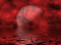 Lune et eau rouges Photo libre de droits
