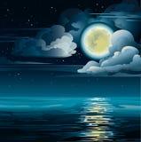 Lune et mer illustration libre de droits