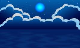 Lune et nuage avec la vue de mer de ciel nocturne illustration de vecteur