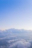 Lune et nuages en croissant Photos stock