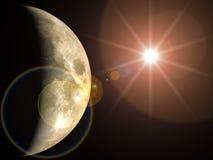 Lune et soleil Photographie stock libre de droits