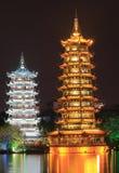 Lune et temple Guilin Chine de pagoda de Sun image libre de droits