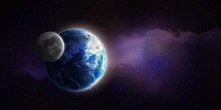 Lune et terre illustration de vecteur