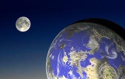 Lune et terre Photos stock