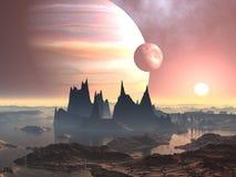Lune gemellare sopra il Europa del pianeta royalty illustrazione gratis