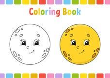 Lune Livre de coloriage pour des enfants Caractère gai Illustration de vecteur Style mignon de bande dessinée Tiré par la main Pa illustration stock