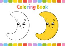 Lune Livre de coloriage pour des enfants Caractère gai Illustration de vecteur Style mignon de bande dessinée Tiré par la main Pa illustration libre de droits