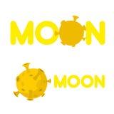 Lune Logo de sociétés avec une planète jaune Illustration de vecteur Image stock