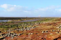 Lune-Mündung und Regenpfeifer-Narben-Leuchtturm Lancashire Lizenzfreies Stockfoto