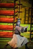 Lune martiale de ballet d'arts-Hui au-dessus de Helan Photographie stock