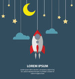 Lune plate, étoile et une fusée accrochant sur les cordes des affaires nouvelles Image stock