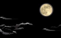 Lune réaliste, dans une nuit foncée Illustration de Vecteur