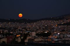 Lune sanglante photographie stock
