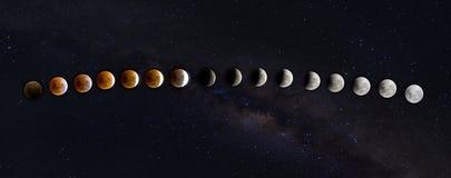 Lune superbe de sang de pleine lune à la lune de sang Supermoon total lu images stock