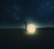 Lune tombée. Images libres de droits