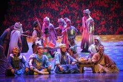 Lune tribale de ballet de festin-Hui au-dessus de Helan Photo libre de droits
