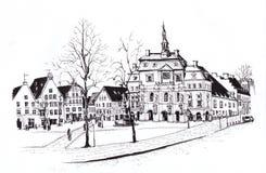 Luneburg Район с ратушей эскиз Стоковая Фотография RF