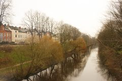 Luneburg, Germany - 10.12.2017: Medieval traditional European houses and Ilmenau river. Winter in Europe. Luneburg, Germany - 10.12.2017: Medieval traditional royalty free stock photos