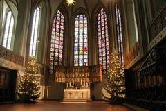 Luneburg, Niemcy - 10 12 2017: Bożenarodzeniowy ołtarz w kościół katolickim i witraż za nim fotografia stock