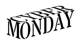 Lunedì cyber - parola del nero 3D illustrazione di stock