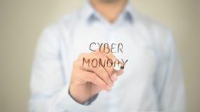 Lunedì cyber, scrittura dell'uomo sullo schermo trasparente Fotografia Stock