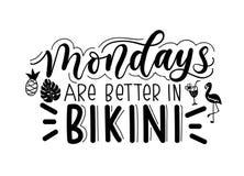 Lunedì sono migliori nella citazione dell'iscrizione del bikini isolata sulla b bianca illustrazione di stock