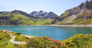 Luner see and glacier, austria. Beautiful view to dam lake luner see, vorarlberg, austrian landscape stock photos