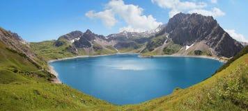 Lunersee del lago artificiale e ghiacciaio, Austria Fotografie Stock Libere da Diritti