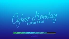 Lunes cibernético Mano que pone letras a la barra cibernética de viernes y de cargamento Bandera estacional de la venta del invie Imagen de archivo