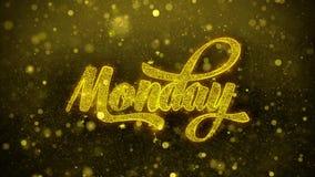 Lunes desea la tarjeta de felicitaciones, invitación, fuego artificial de la celebración