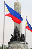 Luneta park 2. Tight shot of the Rizal monument at Luneta Park, Manila with Philippine flags stock photos