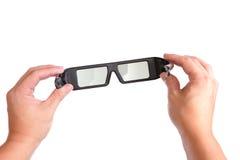 lunettes 3D (glaces actives) pour l'affichage à cristaux liquides TV Photo stock