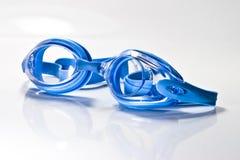 Lunettes bleues de bain Images libres de droits