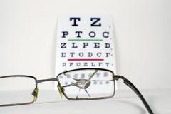 Lunettes cassés sur le diagramme d'essai d'oeil de Snellen d'opticiens photos libres de droits