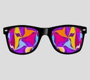 Lunettes de soleil avec le style abstrait de hippie de fond d'illustration de vecteur illustration stock